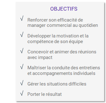 Objectifs formation Manager son équipe
